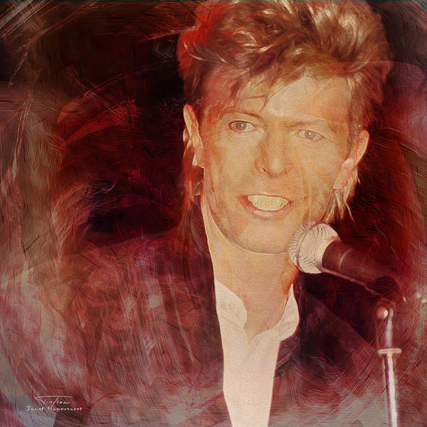 David Bowie Poster featuring the painting Music Icons - David Bowie Iv by Joost Hogervorst