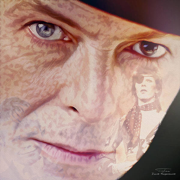 David Bowie Poster featuring the painting Music Icons - David Bowie Vll by Joost Hogervorst