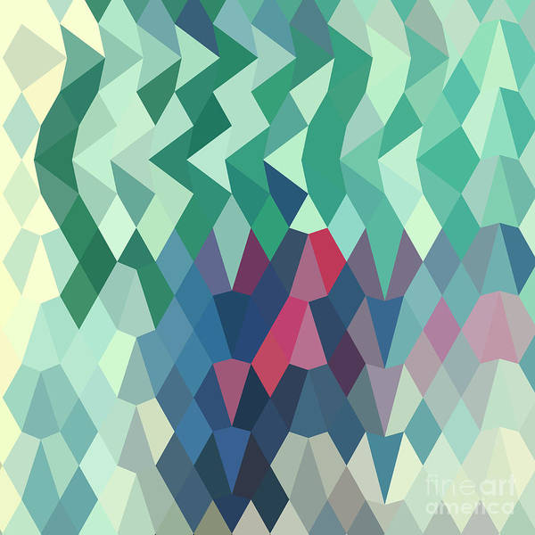 Low Polygon Poster featuring the digital art Myrtle Green Abstract Low Polygon Background by Aloysius Patrimonio