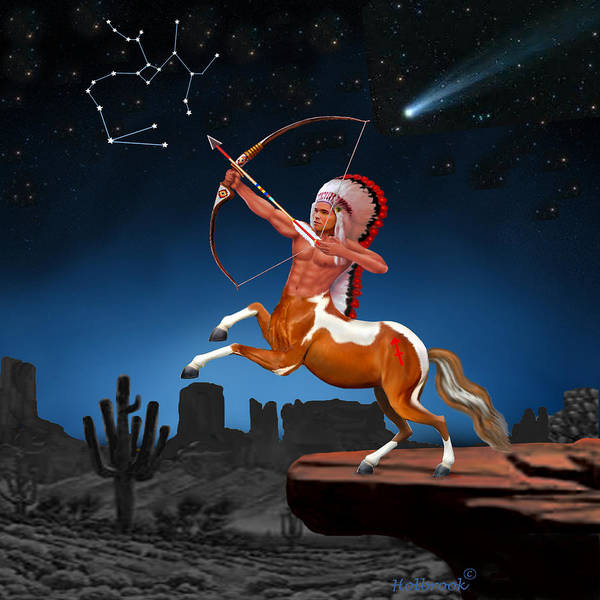 Sagittarius Poster featuring the digital art Native American Sagittarius by Glenn Holbrook