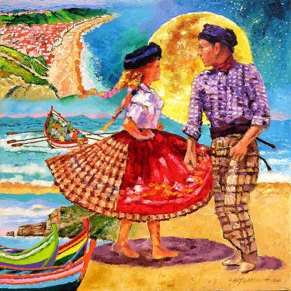 Dancers Poster featuring the painting Nazare Portugal by John Lautermilch