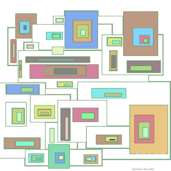 Abstract Poster featuring the digital art Neon Geometrics 2 by Candice Danielle Hughes