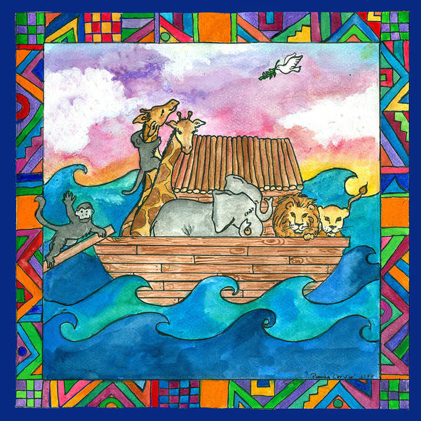 Whimsical Poster featuring the painting Noah's Ark by Pamela Corwin