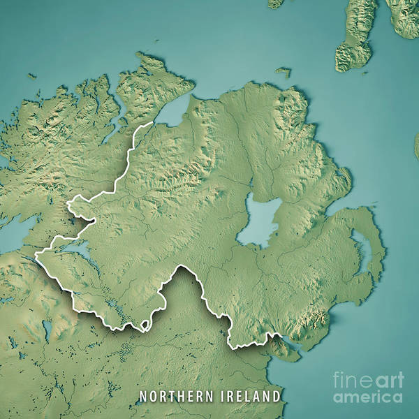Map Of Ireland 3d.Northern Ireland Country 3d Render Topographic Map Border Poster