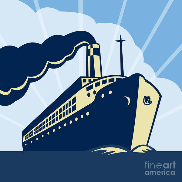 Boat Poster featuring the digital art Ocean Liner Boat by Aloysius Patrimonio