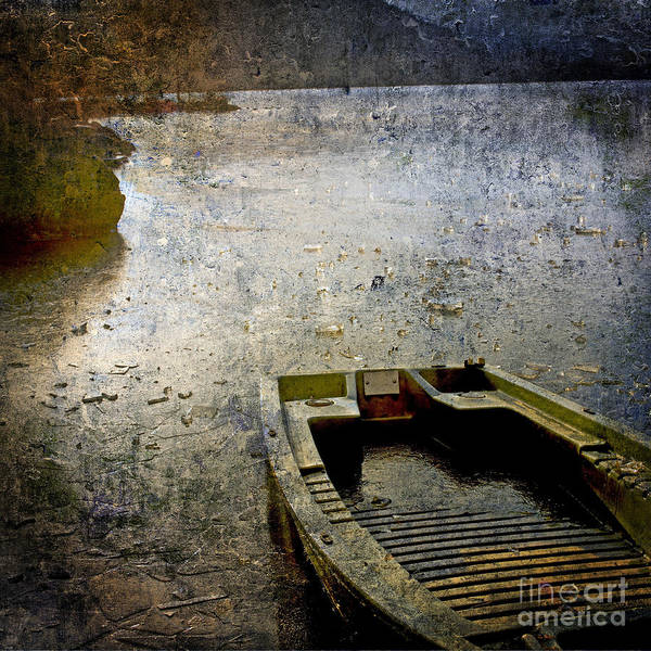 Bail Out Poster featuring the photograph Old Sunken Boat. by Bernard Jaubert