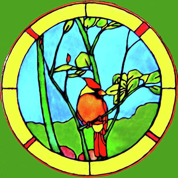 Cardinal Poster featuring the glass art On The Branch by Farah Faizal