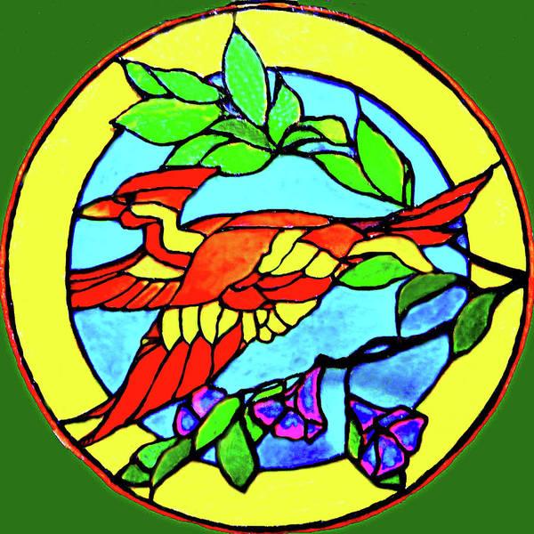 Bird Poster featuring the glass art Orange Beauty by Farah Faizal