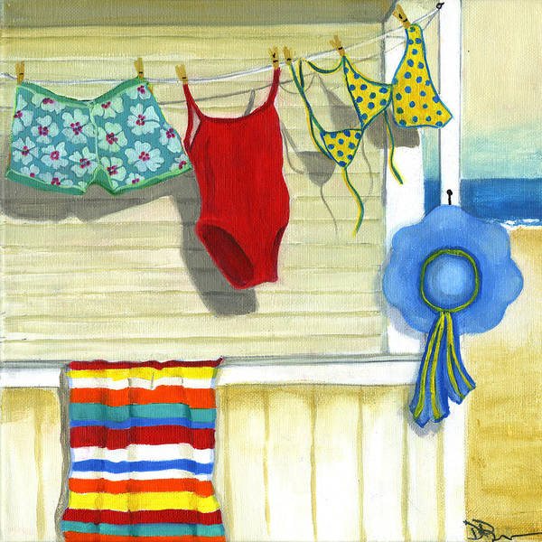 Beach Poster featuring the painting Out To Dry by Debbie Brown