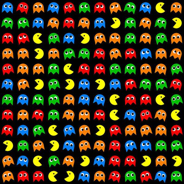 Pacman Poster featuring the digital art Pacman Seamless Generated Pattern by Miroslav Nemecek