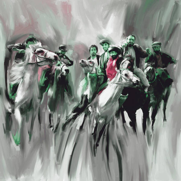 Buzkashi Poster featuring the painting Painting 787 4 Buzkashi by Mawra Tahreem