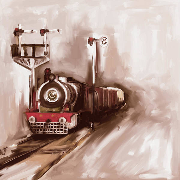 Steam Engine Poster featuring the painting Painting 801 3 Steam Engine by Mawra Tahreem