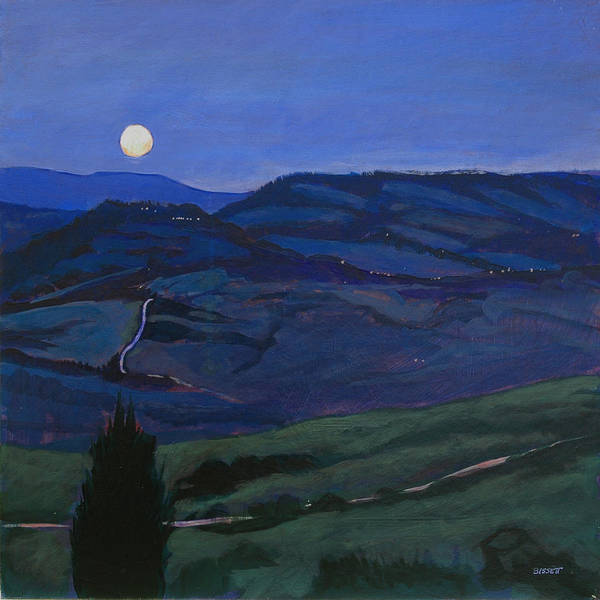 Italy Poster featuring the painting Pienza Moon by Robert Bissett