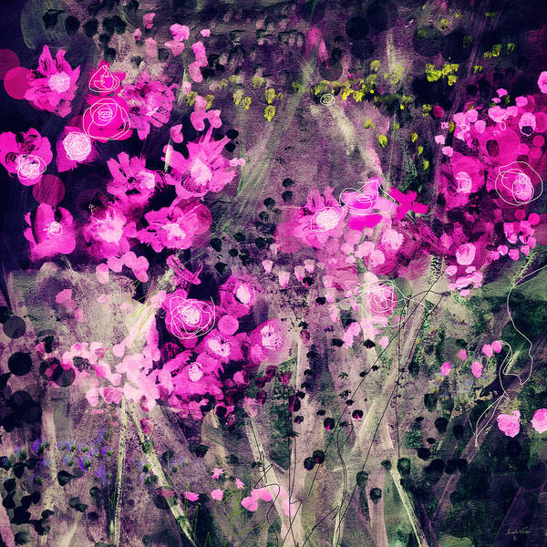 Flowers Poster featuring the mixed media Pink Majestic Garden- Art By Linda Woods by Linda Woods