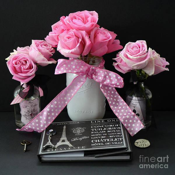 Pink Roses French Decor - Pink And Black Parisian Wall Art - Pink ...
