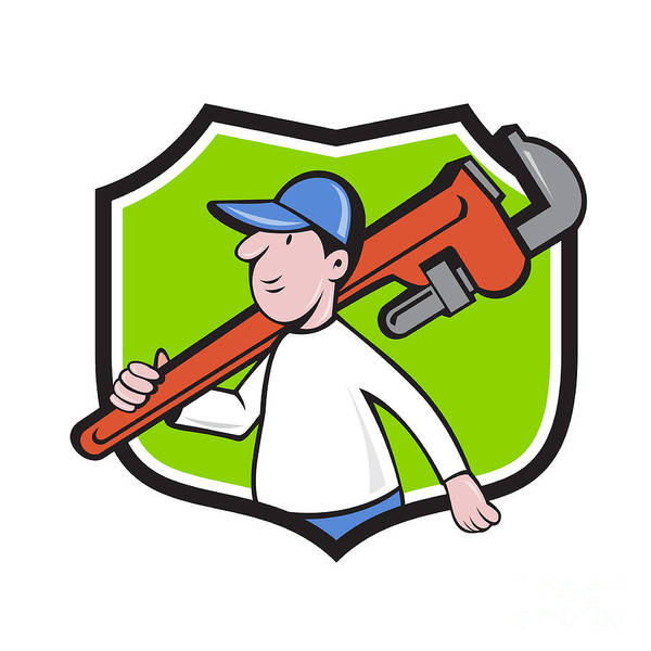 Plumber Poster featuring the digital art Plumber Holding Monkey Wrench Crest Cartoon by Aloysius Patrimonio