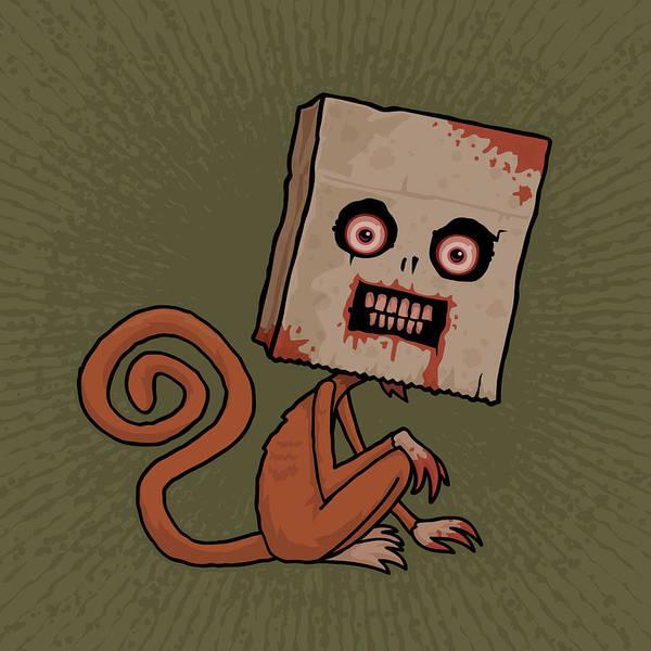 Monkey Poster featuring the digital art Psycho Sack Monkey by John Schwegel