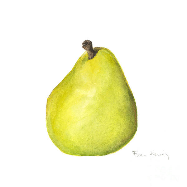 Square Paintings Poster featuring the painting Rachel's Pear by Fran Henig