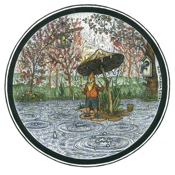 Rain Poster featuring the drawing Rain Gnome Rain Circle by Bill Perkins