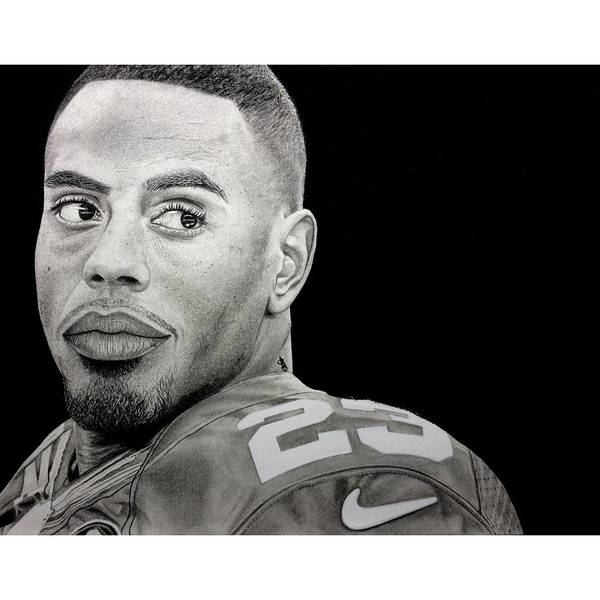 Nyg Poster featuring the drawing Rashad Jennings Drawing by Angelee Borrero
