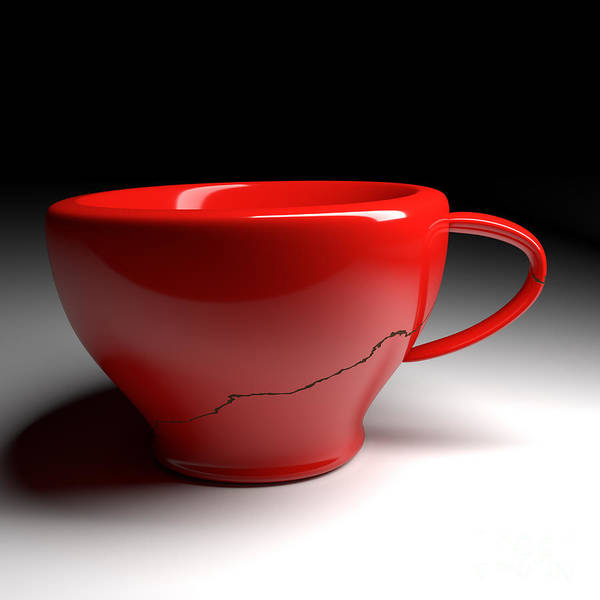 Coffee Poster featuring the digital art Red Coffee Cup by Andreas Berheide