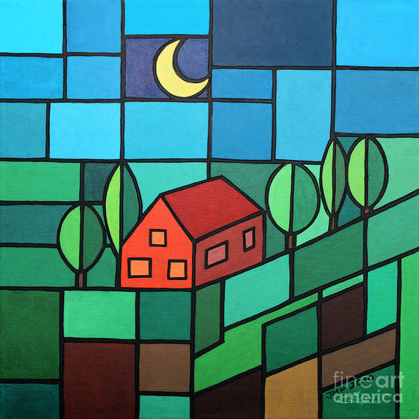 Paint Poster featuring the painting Red House Amidst The Greenery by Jutta Maria Pusl