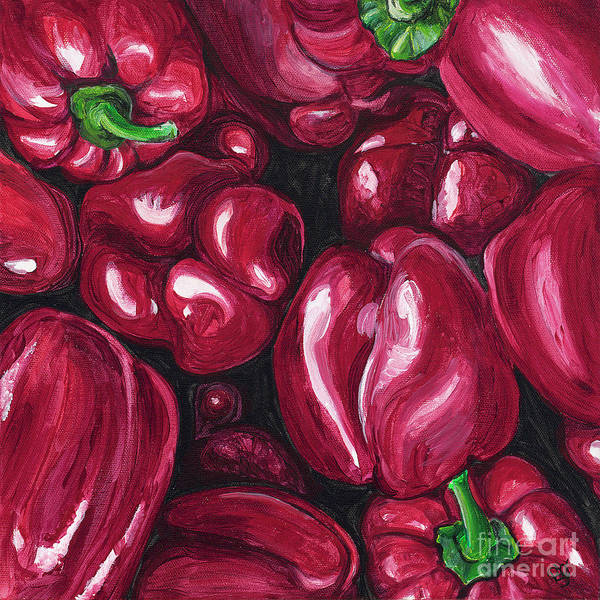 Peppers Poster featuring the painting Red Peppers by Patty Vicknair