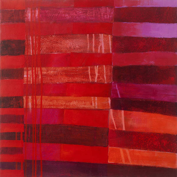 Abstract Art Poster featuring the painting Red Stripes 2 by Jane Davies