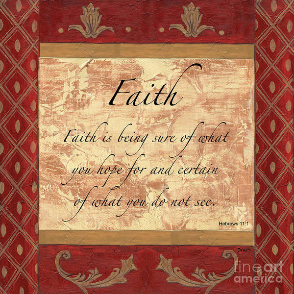 Faith Poster featuring the painting Red Traditional Faith by Debbie DeWitt