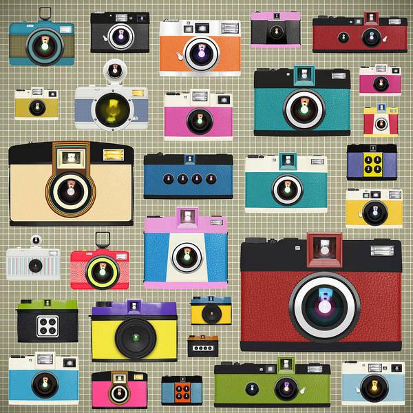 Analog Poster featuring the painting Retro Camera Pattern by Setsiri Silapasuwanchai