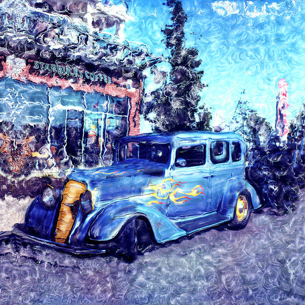Blue Poster featuring the photograph Roadster In Polaroid by Rianna Stackhouse