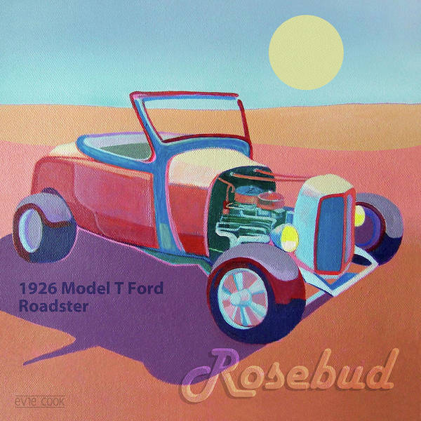 Ford Poster featuring the digital art Rosebud Model T Roadster by Evie Cook