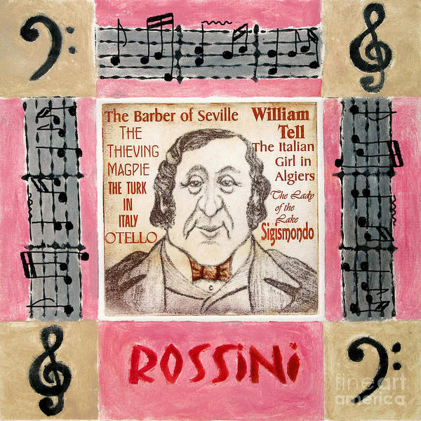 Rossini Poster featuring the mixed media Rossini Portrait by Paul Helm