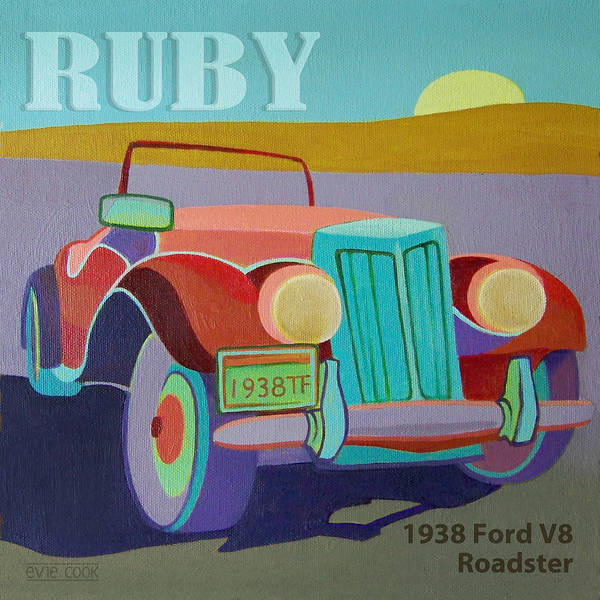Ford Poster featuring the digital art Ruby Ford Roadster by Evie Cook