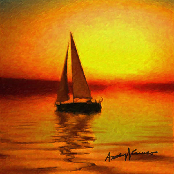 Sail Poster featuring the painting Sailing At Sunset by Anthony Caruso