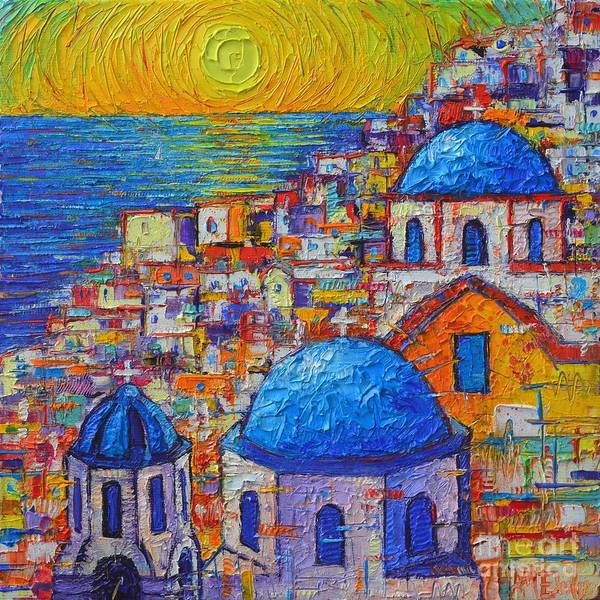 Santorini Sunset Oia Blue Domes Abstract Cityscape Poster