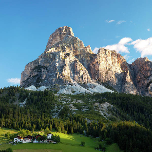 Square Poster featuring the photograph Sassongher At Sunrise, Alta Badia by Matteo Colombo