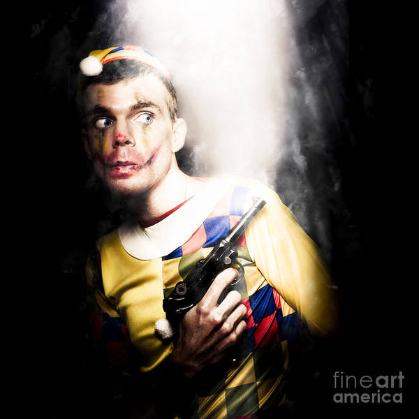 Art Poster featuring the photograph Scary Clown Standing In Shadows With Smoking Gun by Jorgo Photography - Wall Art Gallery