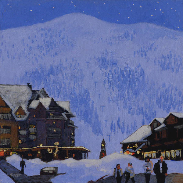 Schweitzer Poster featuring the painting Schweitzer Nights by Robert Bissett