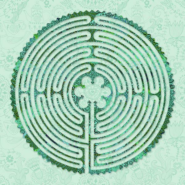Labyrinth Art Poster featuring the digital art Seafoam by Fine Art Labyrinths