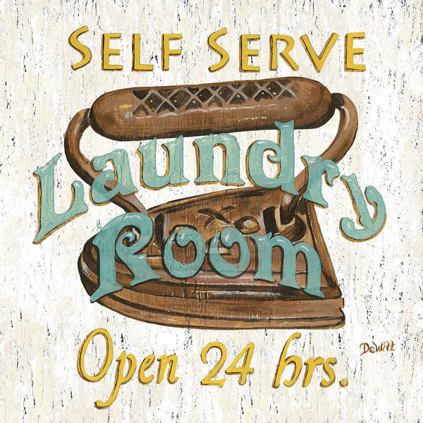 Iron Poster featuring the painting Self Serve Laundry by Debbie DeWitt