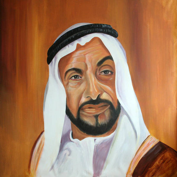 Abu Dhabi Poster featuring the painting Sheikh Zayed Bin Sultan Al Nahyan by Fiona Jack