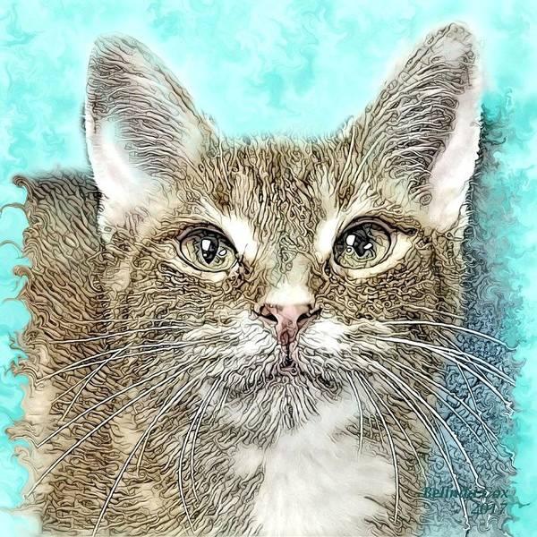 Digital Art Poster featuring the digital art Shelter Cat Fantasy Art by Artful Oasis