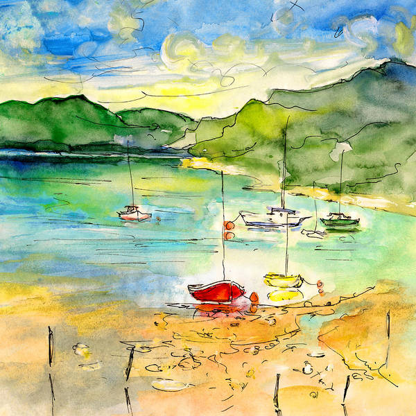 Travel Poster featuring the painting Shieldaig In Scotland 03 by Miki De Goodaboom