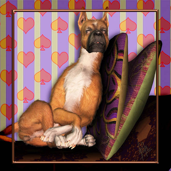 Dog Poster featuring the digital art Sleeping II by Nik Helbig