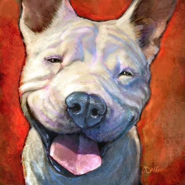 Dogs Poster featuring the painting Smile by Sean ODaniels