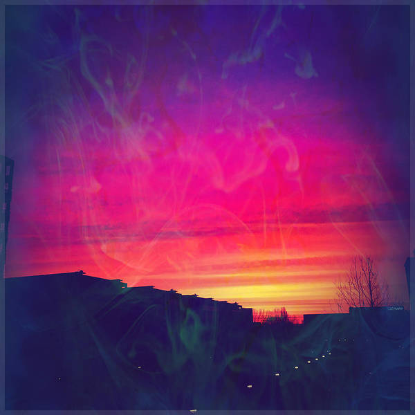 Sunrise Poster featuring the mixed media Smokey Purple Sunrise by Suggestive Moods