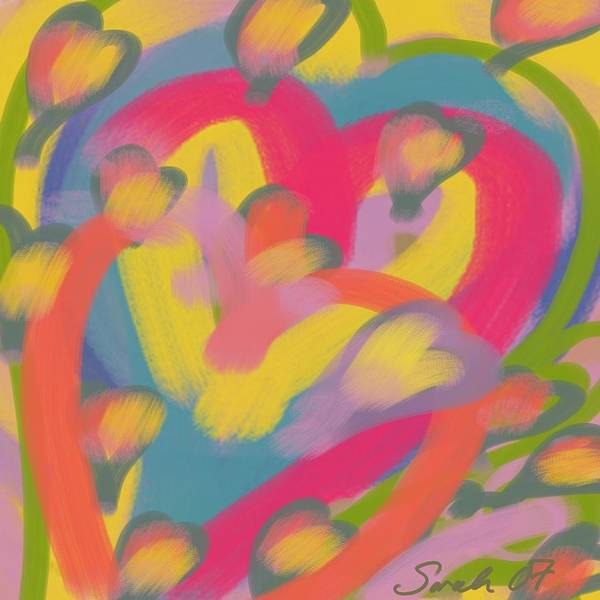 Hearts Poster featuring the painting So Much Love by Sarah Madsen