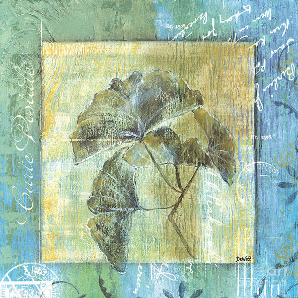 Gingko Poster featuring the painting Spa Gingko Postcard 2 by Debbie DeWitt