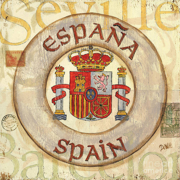 Spain Poster featuring the painting Spain Coat Of Arms by Debbie DeWitt